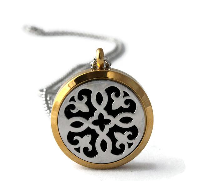 Fleur-de-lis Two Toned EsScent-Oil™ Diffuser Necklace