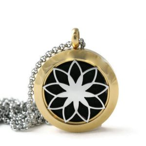 Petite Two-toned Lotus Stainless Steel DIffuser Necklace