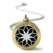 Petite Gold and Silver Lotus Stainless Steel DIffuser Necklace