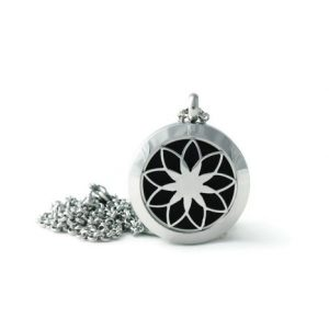 Petite Silver Lotus Stainless Steel Diffuser Necklace