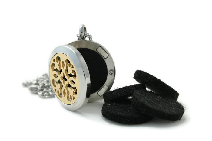Petite Silver-Gold Fleur-de-lis stainless steel diffuser necklace