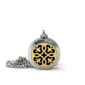 Petite Silver-Gold Fleur-de-lis stainless steel diffuser necklace