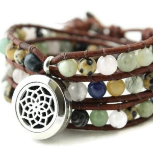 Mixed Gemstone Wrap Bracelet with Diffuser