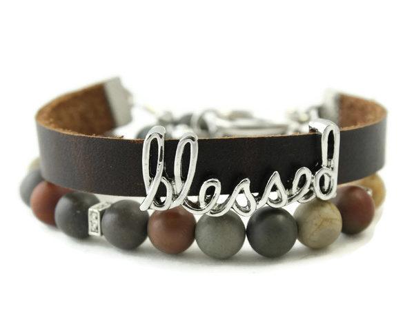 Picture Jasper Leather Wrap Diffuser Bracelet