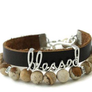 Natural Stone Diffuser Wrap Bracelet