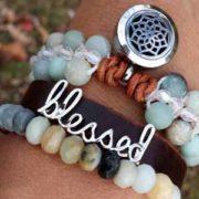 Jasper triple row cuff diffuser bracelet
