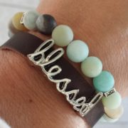 "Matte Amazonite, ""Blessed"" Diffuser Leather Wrap Bracelet"