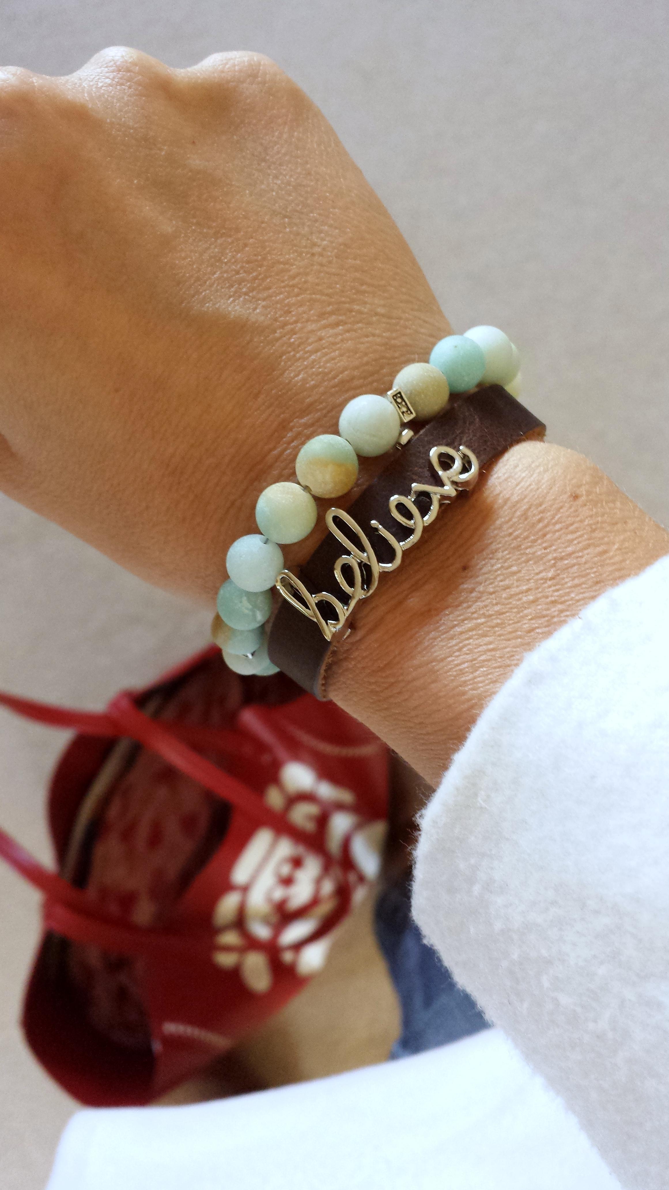 Amazonite Quot Believe Quot Diffuser Leather Wrap Bracelet Tje