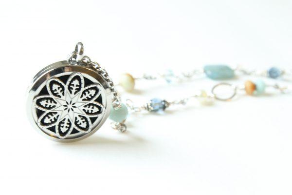 Semi Precious Stone Mandala Diffuser Necklace