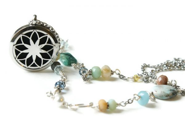 Semi Precious Stone Lotus Diffuser Necklace