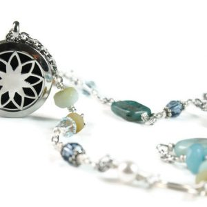 Lotus Mixed Semi Precious Stone Diffuser Necklace