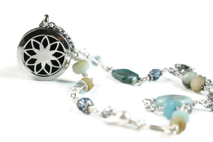 Lotus Mixed Semi Precious Stone Diffuser Necklace