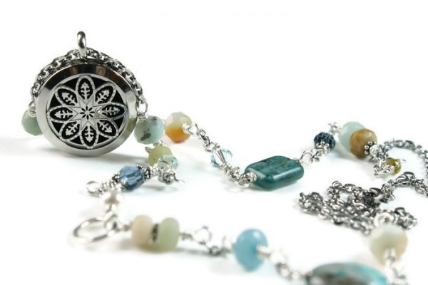 Long Mixed Semi Precious Stone Diffuser Necklace
