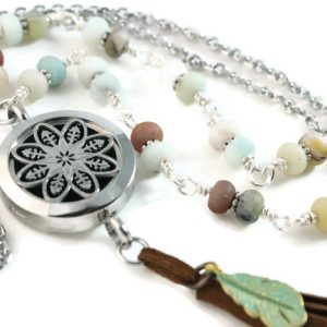 amazonite gemstone lariat diffuser necklace