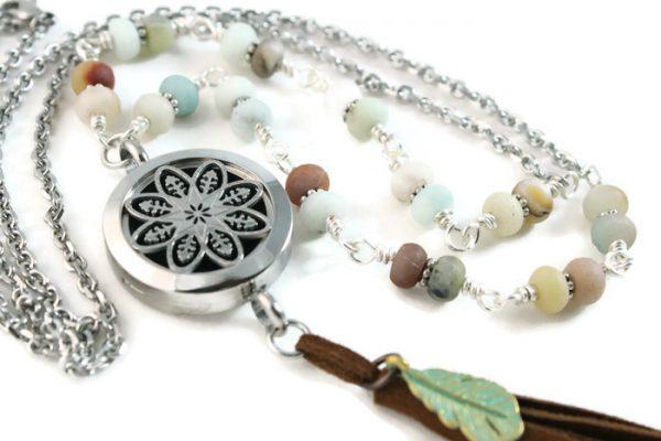 amazonite gemstone lariat diffuser necklace