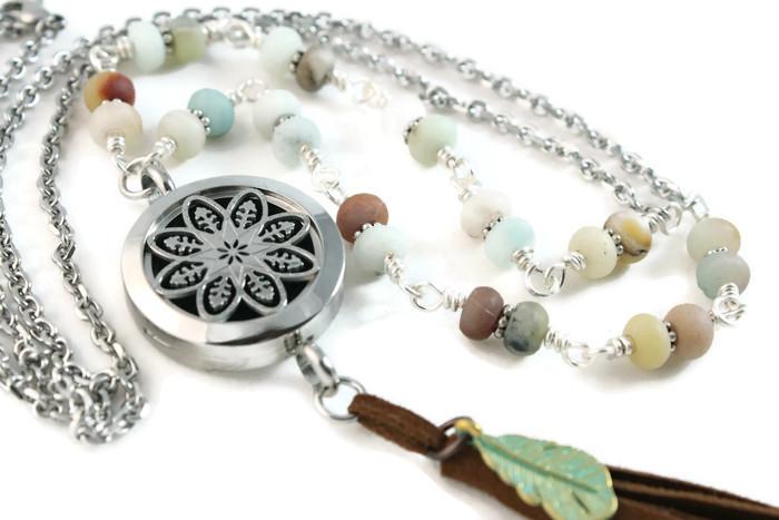 amazonite lariat diffuser necklace