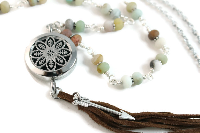 Amazonite gemstone diffuser necklace