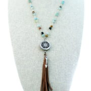 Natural Stone Fringe Tassel Diffuser Necklace