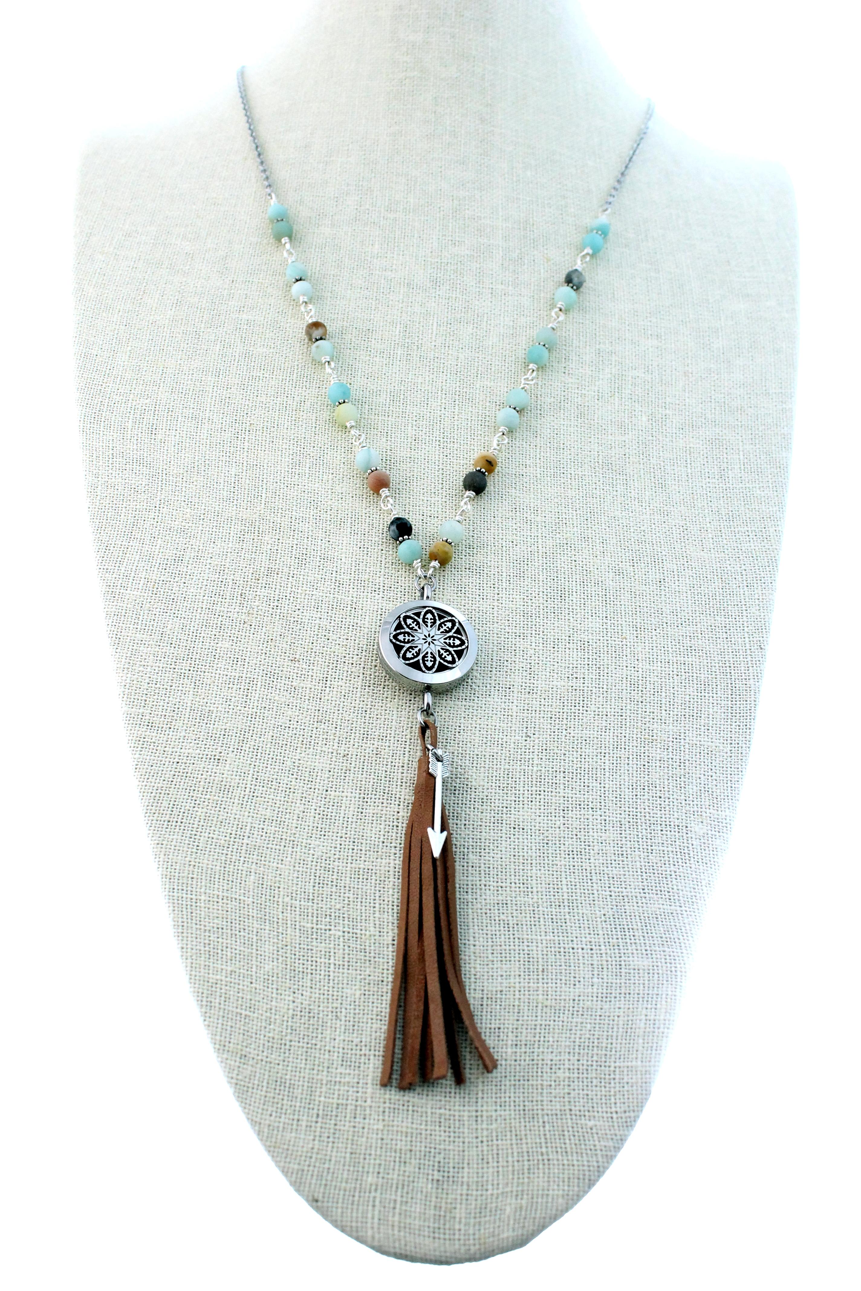 Natural Stone Fringe Tassel Diffuser Necklace Tje Design