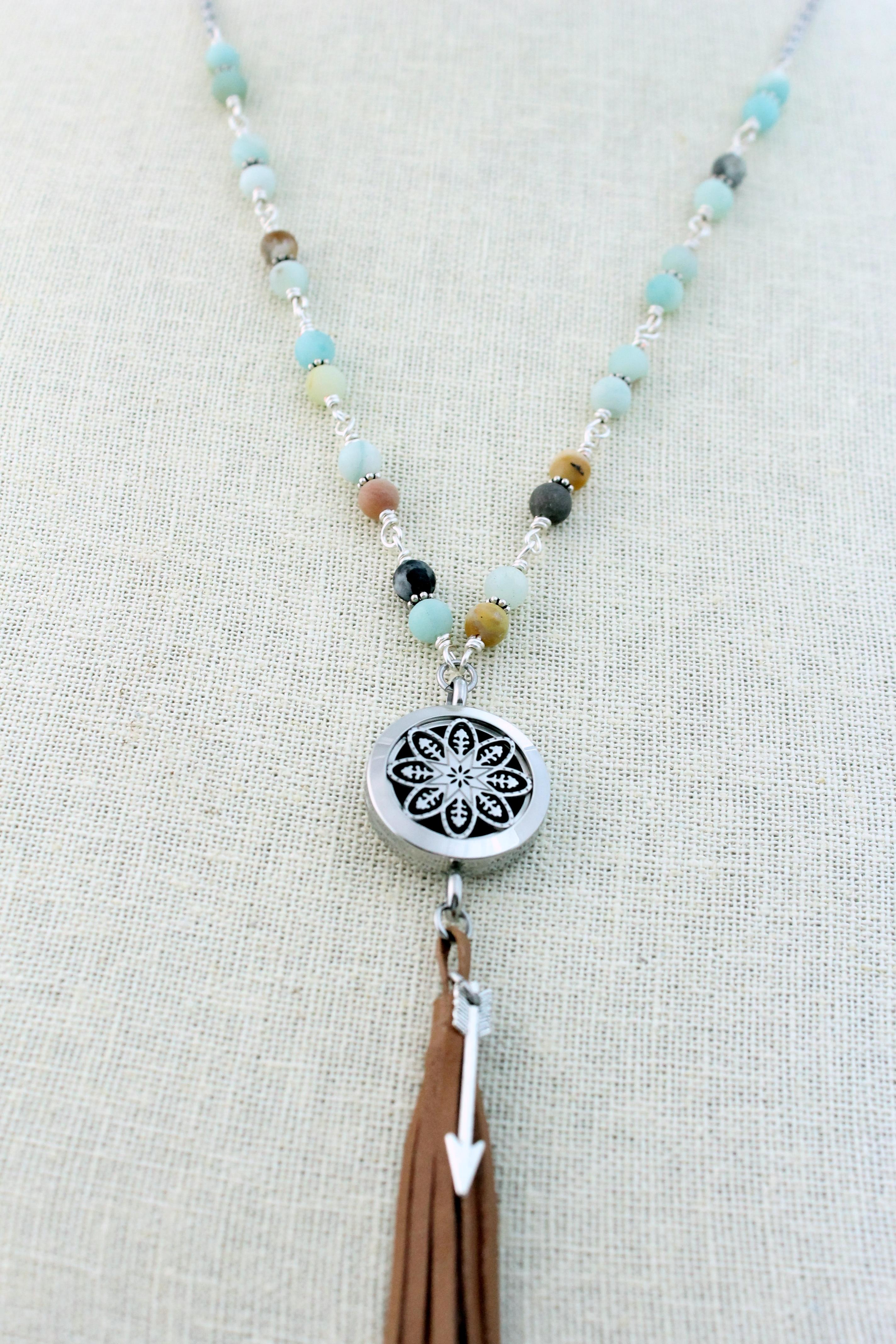 Natural Stone Fringe Tassel Diffuser Necklace Tje Design Studio
