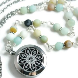 Amazonite Mala Gemstone Diffuser Necklace