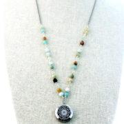 Amazonite Mala Gemstone Diffuser Necklace