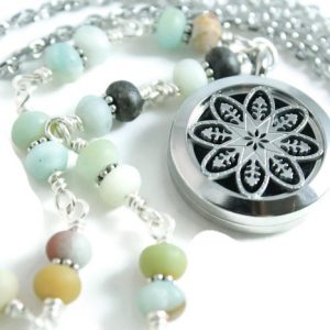 Wire-wrapped amazonite 30' diffuser necklace