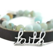 """Matte Amazon """"Faith""""diffuser leather wrap bracelet"""