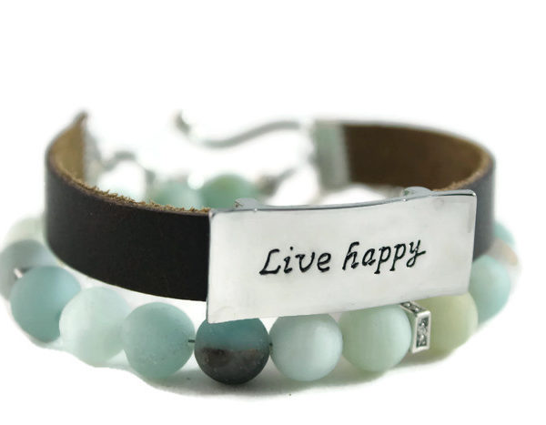 "Matte Amazonite, ""Live Happy"" Diffuser Leather Wrap Bracelet"