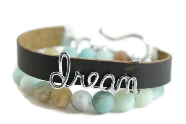 "Matte Amazonite, ""Dream"" Diffuser Leather Wrap Bracelet"