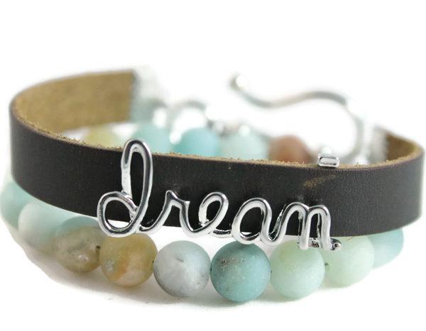 "Matte Amazonite, ""Dream"" Diffuser Leather Wrap Bracelet"