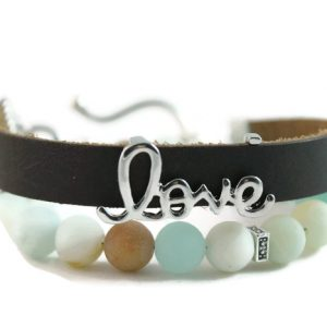 "Matte Amazonite, ""Love"" Diffuser Leather Wrap Bracelet"