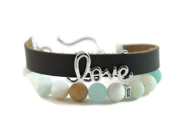 "Matte Amazonite, ""Love"" Diffuser Leather Wrap Bracelet"