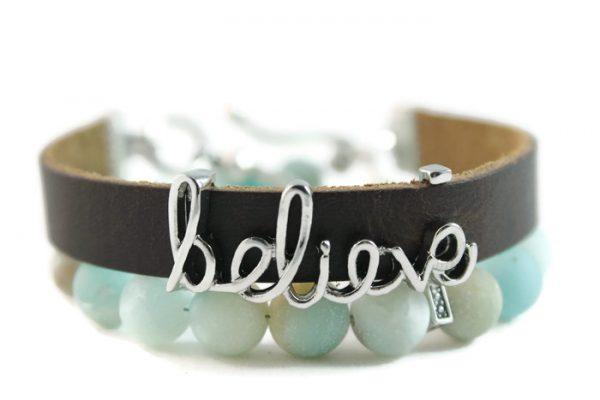 "Amazonite, ""Believe"" Diffuser Leather Wrap Bracelet"