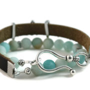 "Amazonite, ""Believe"" Diffuser Leather Wrap Bracelet"