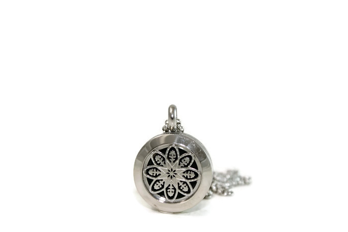 Mini Silver Mandala Stainless Steel Diffuser Necklace