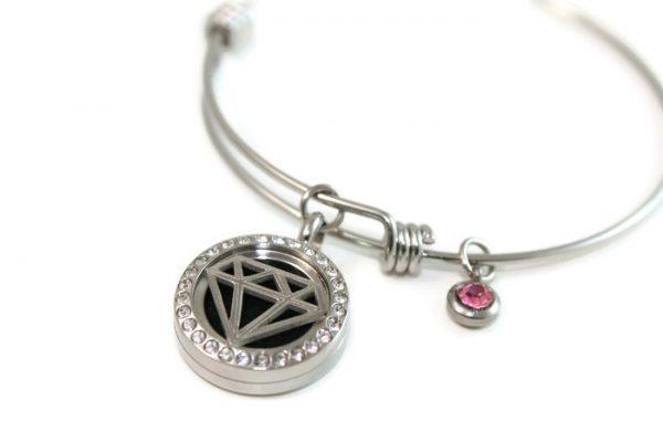Diamond Stainless Steel Bangle Diffuser Bracelet