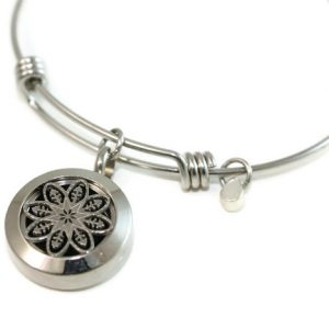 Silver Mandala Stainless Steel Diffuser Bracelet