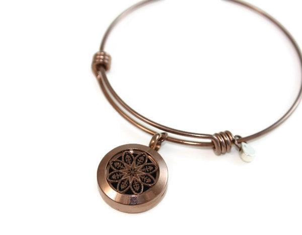 Chocolate Mandala Stainless Steel Bangle Diffuser Bracelet