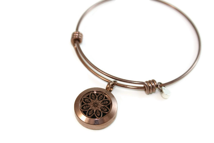 Chocolate Mandala  Stainless Steel Bangle Diffuser Bracelet