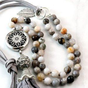 Long Gemstone Diffuser Necklaces