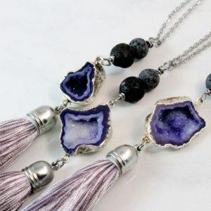Druzy Stone Diffuser Necklace